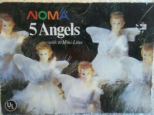 NOMA Vintage Porcelain Faced Victorian 5 Angels Set Christmas Decor Tree Lights