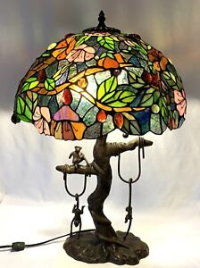 Tiffany Style Table Lamp Double Lit Stained Glass Lamp Tree Jungle Monkeys 27quot; $250.77