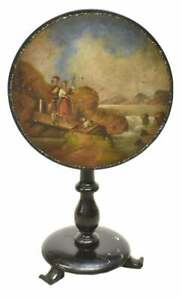 Antique TableTilt Top Painted English Scenic Lacquered 19th Century 1800s $1459.45