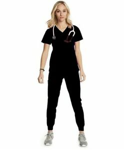 Women#x27;s Scrub Set Jogger Pants with Matching Top Size Small Black Brand New.