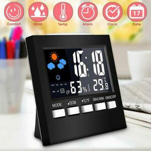 Digital Display LCD Thermometer Humidity Clock Colorful Alarm Weather C4N6
