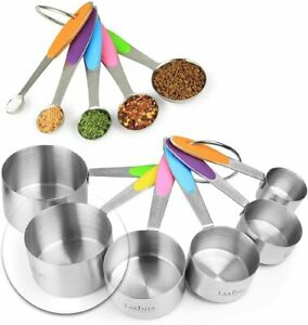 11 Piece Measuring Set Sturdy Stainless Steel Stackable 6 Measuring cups 5 spoon $19.99