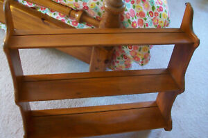 Vintage Wood Wall Curio Display Tea Cup and Saucer Shelf.....grooved shelves $82.95