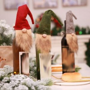 Christmas Wine Bottle Cover Bag Gnome Wine Bottle Topper Dinner Table Decor