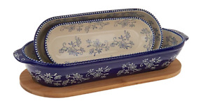 Temp tations Floral Lace Oval Nesting Bakers w Wooden Lid Set of 3 A