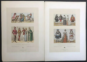 Fashion And Costume Lot Of 33 Antique Color Lithographs French Circa 1880 $79.00