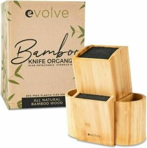 Evolve Bamboo Knife Block Universal Kitchen Knife Holder High Quality