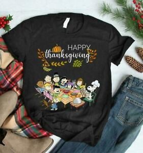 SALE HAPPY THANKSGIVING The Peanuts Gang T Shirt Funny Vintage Gift Men Women $15.95