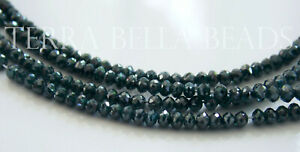 1quot; genuine teal blue DIAMOND faceted gem stone rondelle beads 2.3mm 2.8mm