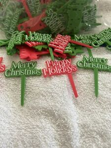 LOT OF 24 HAPPY MERRY CHRISTMAS CUPCAKE DECORATIONS TOPPERS PICKS FREE SHIPPING