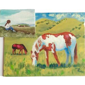 TWO VINTAGE PAINTINGS Horses Grazing amp; Girl Gazing Oil On Board Both Signed $26.00