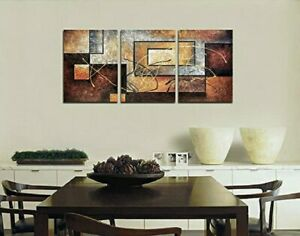 3 Piece Canvas Modern Art Painting Abstract Wall Framed Big Brown Ready to Hang $18.99