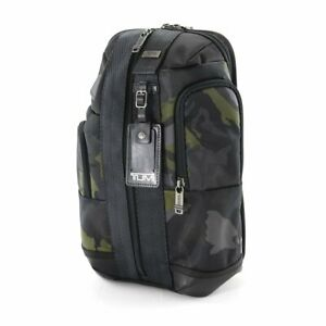 NWT TUMI HIGGINS SLING CROSSBODY BACKPACK CAMOUFLAGE WITH BLACK LEATHER TRIM