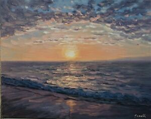 Sean Wu original oil painting 14x18 on stretched canvas seascape $49.00