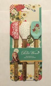 The Pioneer Woman Mini Spatula Silicone With Acadia Wooden Handle 3 Piece Set