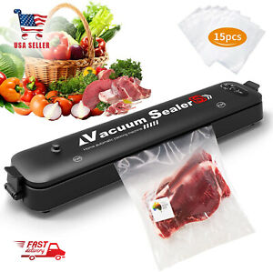 Vacuum Sealer Machine for Food Preservation with 15 Pcs Saver Bags14.5x3x1.9 In $32.99