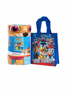 Officially Licensed Paw Patrol Kids 45x60 Throw Blanket amp; Small Tote 8quot; Bag