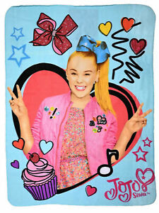 Girls Jojo Siwa Fleece Throw Blanket 45quot;x60quot; Hearts Bows $19.99