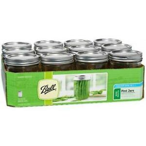 Ball Glass Mason Jar With Lid amp; Band Wide Mouth 16 Ounces 12 Count