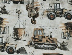 REALISTIC CONSTRUCTION TRUCKS 100% COTTON FABRIC WORK ZONE MACHINERY BY THE YARD