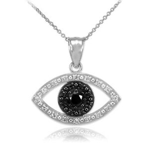 14k Real White Gold Evil Eye with 16 Clear and 8 Black Diamond Pendant Necklace