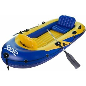 Sable Inflatable Boat Set with Aluminum Oars and Air Pump Fishing Boat with Rod