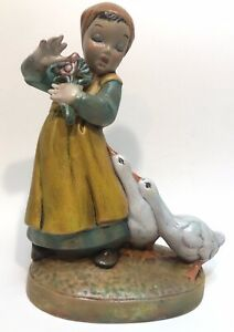 "Vintage Ceramic Girl with Flowers and Geese Figurine 8 1 2"" H"