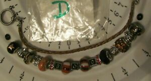 Halloween CREATE YOUR OWN BRACELET beads charms and brown leather bracelet