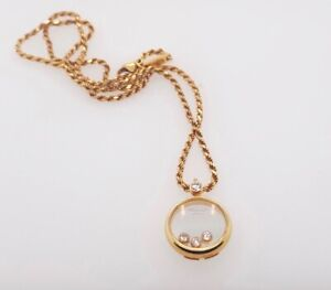 Estate 18K Yellow Gold Chopard Happy Diamond 3 Floating Diamond Pendant 0.23Ctw