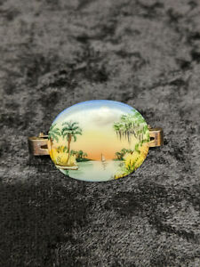 Antique Signed Olive Commons Oval Scarf Clip Pin Brooch Cameona Florida Scene $299.99