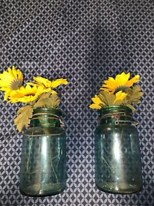 2 Antique Lightning Glass Canning Jars Cornflower?? Blue no Lids Quart Putnam $26.00