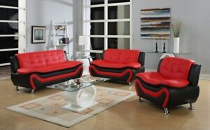 NEW SLEEK Black Red Leather Gel 3PC Sofa Couch Set Contemporary Modern Furniture $849.99
