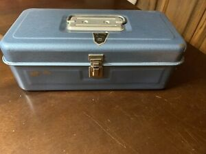 Antique Vintage Tackle Box My Buddy # 1351 Metal Blue 13 Inch WOW