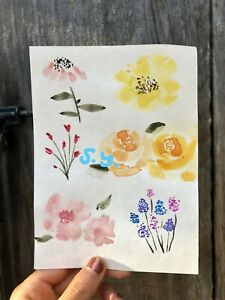 ORIGINAL watercolor painting FLORAL flowers garden nature $3.99