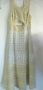 Free People Yellow Gray amp; White Long Fit Flare Maxi Dress Center Cut Out Size 4 $26.99