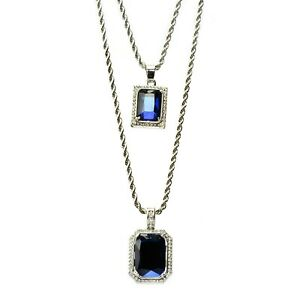 Silver Plated Double Blue Ruby 22 27 Combo Pendant Chain Necklace MHC 216 S $12.99
