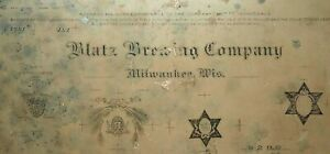 Antique c1920s Lithographic Stone Blatz Brewing Company Beer Milwaukee Wisconsin $230.00