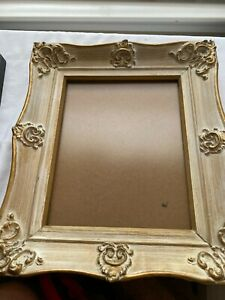 Elegant Ornate French Antique White and Gold Frame 12quot; x 14quot; with Glass