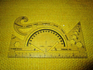 RARE VINTAGE Sterling 544 Protractor and Drawing Instrument Made in USA $6.99