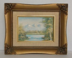 Original Vintage Small 9quot; by 11quot; Framed Oil Painting Landscape Signed $22.00