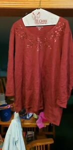 Coldwater Creek Rust 3 4 Sleeve Sequined Knit Top Size 2X $19.99