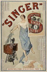 Singer Machines Coudre vintage sewing machine ad poster 24x36 $9.95