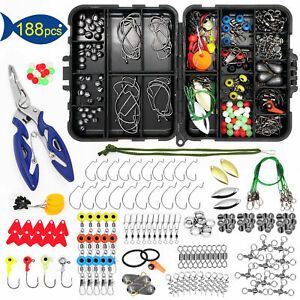 188PCS Fishing Accessories Kit set with Tackle Box Pliers Jig Hooks Swivels