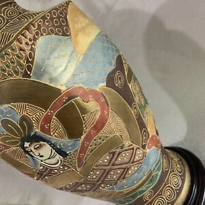 Antique Japan Satsuma Porcelain Multi Color Moriage Dbl Bulb Vase Table Lamp
