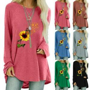 Womens Sunflower Printed Long Sleeve T Shirt Casual Baggy Tunic Top Blouse Shirt $15.76