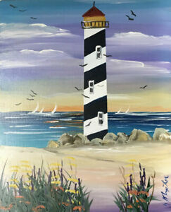 BLACK amp; WHITE LIGHTHOUSE OIL PAINTING BY NORM #3273 $30.00
