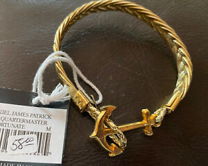 New Brooks Brothers Kiel James Patrick Leather Anchor Bracelet Size Med NWT Gold