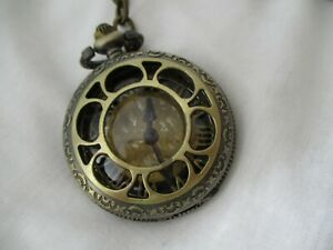 Pocket Watch Gold Toned Roman Numerals Open Face Ornate FOR REPAIR $28.00