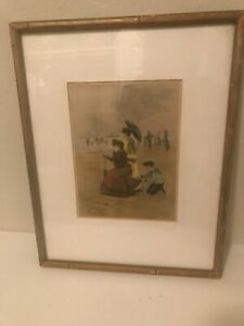 19th Century Original French Etching Victorian Beach Scene Hand Colored Framed $69.99