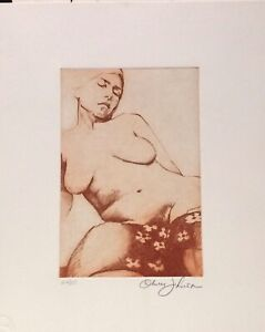OLIVER JOHNSON • quot;NUDEquot; 1981 Original etching Signed Limited Edition. $160.00